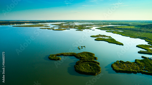 Aerial view Reeds island in the lake on Hungary, Sukoro, Velence.