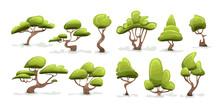 Green Tree Set. Cartoon Vector...