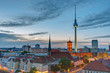 The Television Tower and the townhall in Berlin after sunset