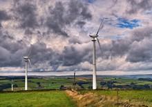 Wind Turbines On A Windy Pennine Moor