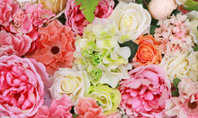 Bunch Of Colorful Artificial Flowers.