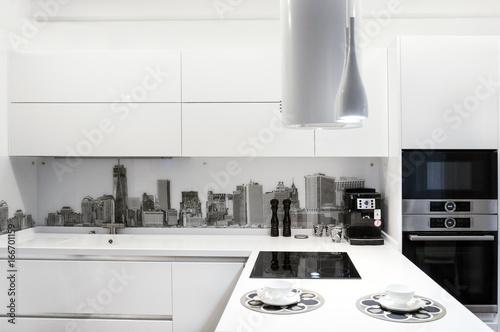 Fototapeta White modern kitchen interior. obraz