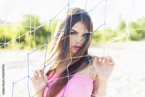 d2369f49e9 Sexy girl in denim shorts and a vest - Buy this stock photo and ...