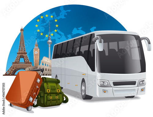 bus tour in europe Wall mural