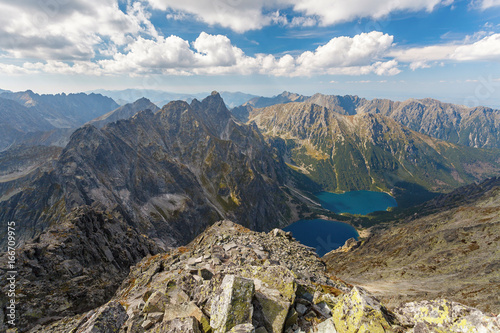 Obraz High Tatra Mountains, aerial view from Rysy peak - fototapety do salonu