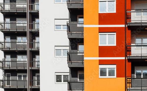 Buildings Facade in housing blocks in perspective.