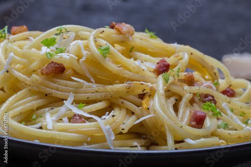 Plakat Spaghetti Carbonara z bekonem i parmezanem