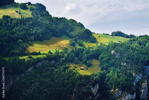 Spoed Foto op Canvas Nachtblauw Stunning alpine landscape in canton Uri, Switzerland