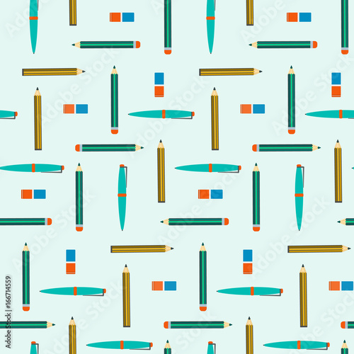 School Seamless Pattern With Pens Pencils And Erasers Nice Kids Education Texture With Study Equipment For Wrapping Paper Cover Banner Wallpaper Background Design Buy This Stock Vector And Explore Similar Vectors