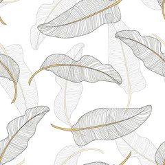 Banana leaves. Seamless pattern background. Composition on a white background.