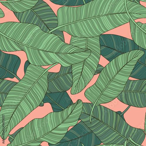 sklad-zielony-palmowy-bananowy-lisc-na-swietle-rozowy-tlo-drukuj-lato-bez-szwu-wektor-wzor-tapety