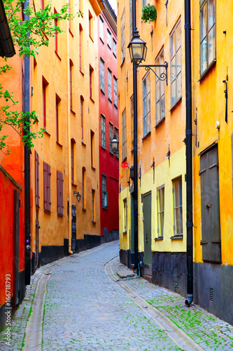 In de dag Stockholm Colorful old street in Stockholm