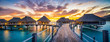 canvas print picture - Sonnenuntergang Panorama am Meer
