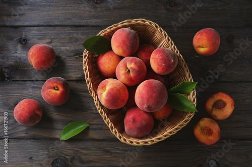 Basket of Fresh Peaches