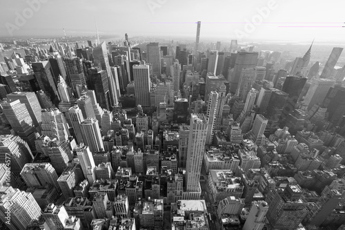 New York City Manhattan skyline, black and white aerial view with skyscrapers, wide angle