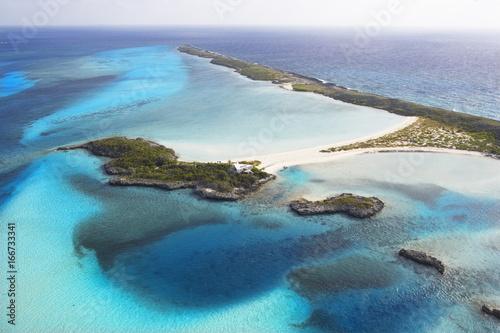 Tropical beach Aerial Of Island In The Bahamas