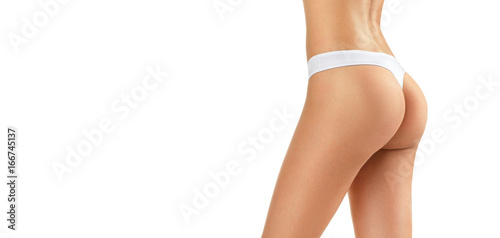 Woman with perfect body, buttocks, hips and waistline. Model girl with healthy slim body isolated on white background