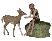 Cute Forest Elf Or Faun, With A Young Deer - Fantasy Illustration