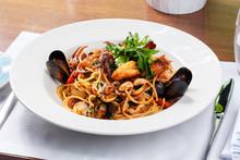 Spaghetti Sea Food On White Pl...