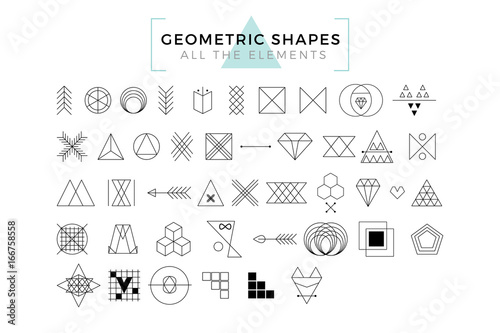 Vector Geometric Shapes, Trendy Retro Shapes and Logotypes, Polygonal Line Art  - 166758558