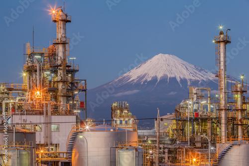 Mountain Fuji and Industry factory view at Shizuoka prefecture