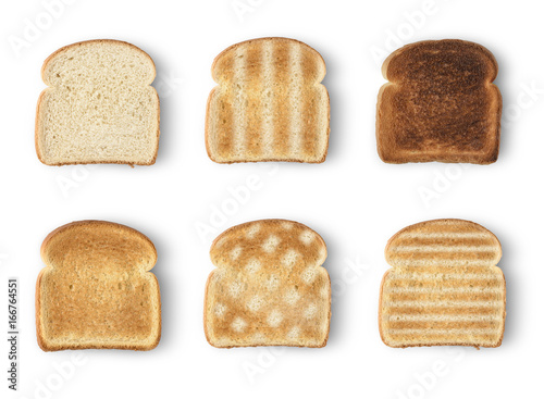 Vászonkép Set of six slices toast bread isolated on white background