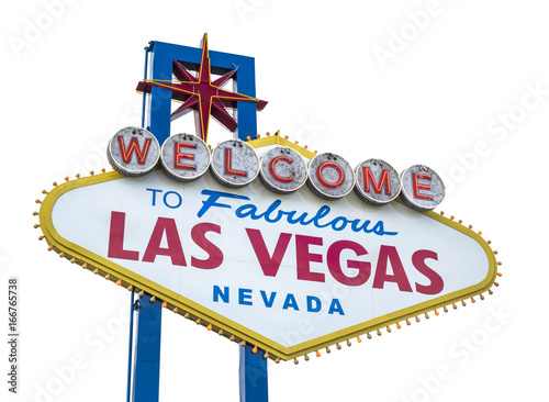 The fabulous Welcome Las Vegas sign. Isolated on white background Poster