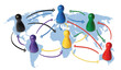 Leinwanddruck Bild - Concept for globalization, global networking, travel or global connection or transportation. Colorful figures with connecting arrows.