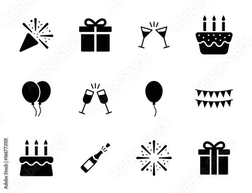 Fotografía Birthday party icon set - New year celebration symbol