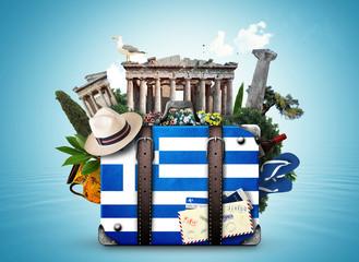 Grčka, vintage kofer sa znamenitostima Grčke