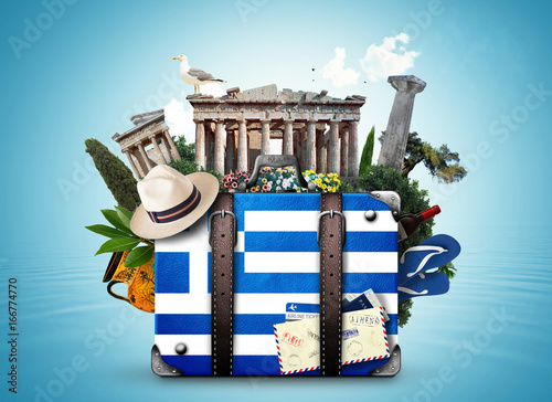 Poster Athens Greece, vintage suitcase with Greece landmarks