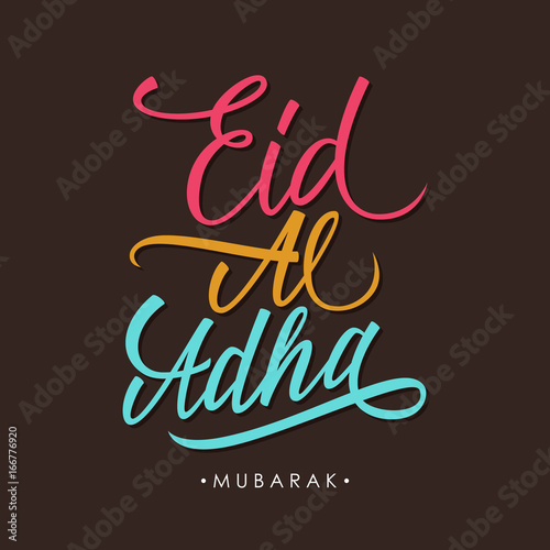 Eid al adha greeting card with hand lettering text design vector eid al adha greeting card with hand lettering text design vector illustration m4hsunfo