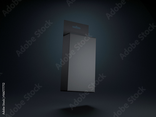 Fotografía  Black Cardboard Box with Hang Tab Mockup for your design in black studio, 3d ren