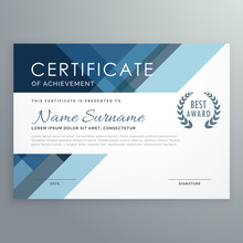 Blue Certificate Design In Professional Style