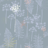 Floral vector seamless pattern with hand drawn dill and african lily flowers and fern leaves. - 166780908