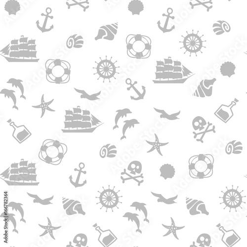 seamless pirate monochrome pattern. Canvas Print