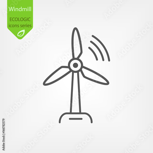 Fotomural Windmill Line Vector Icon