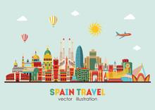Spain Detailed Skyline. Vector...