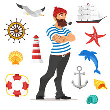 Illustration Of Bearded Sailor Smoking Pipe.