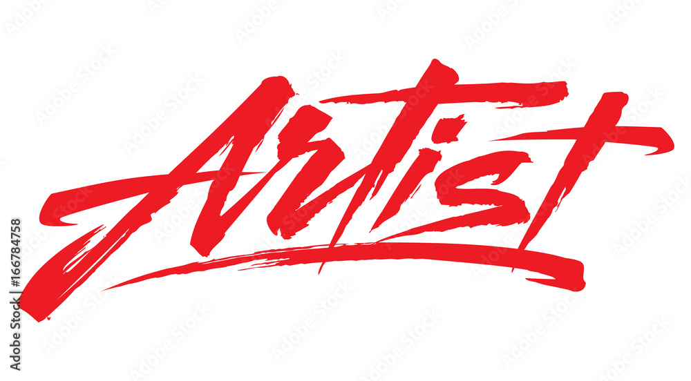 Fototapety, obrazy: Single word Artist. Design element. Dry brush Lettering. Can be used as an element of your logotype