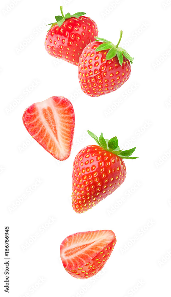 Fototapety, obrazy: Isolated strawberries. Falling strawberry fruits whole and cut in half isolated on white background with clipping path