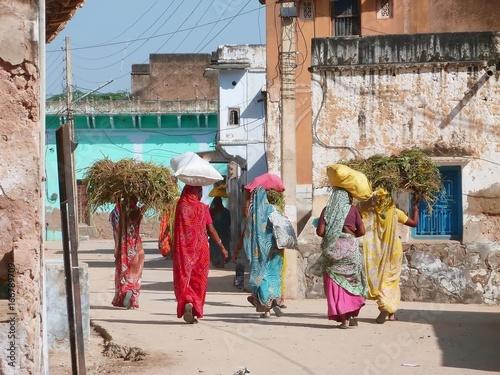 Photo Groupe de femmes en sari portant des sacs et du foin sur la tête, en Inde