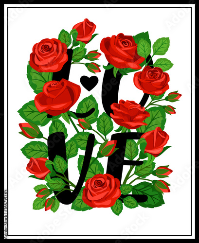 Panel with the word love in red roses Canvas Print