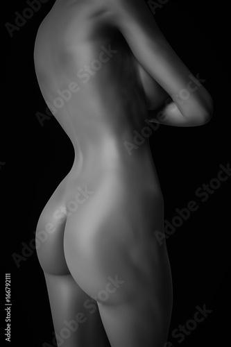 Fototapeta Seksowna naga kobieta czarny i biały