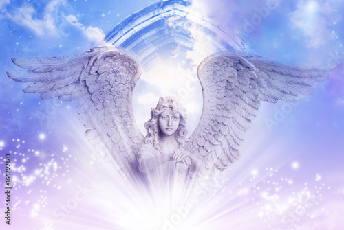 Fototapeta angel archangel with big wings over a mystical Divine sky with a gate and stars
