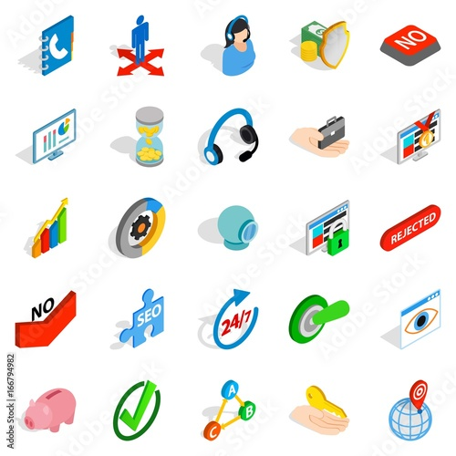 Poster de jardin Route Business payment icons set, isometric style