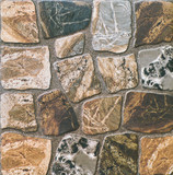 Abstract, geometric, tiled pattern of solid stone