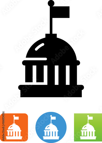 Foto  Capital Dome Building With Flag Icon