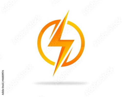 Circle Thunder Lightning Logo - Buy this stock vector and