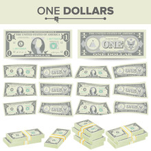 1 Dollar Banknote Vector. Cartoon US Currency. Two Sides Of One American Money Bill Isolated Illustration. Cash Symbol 1 Dollar Stacks